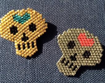 Memento Mori Beaded Skull Pin