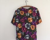 Vintage Stained Glass Silk Tee / Neon Floral Blouse T-Shirt M