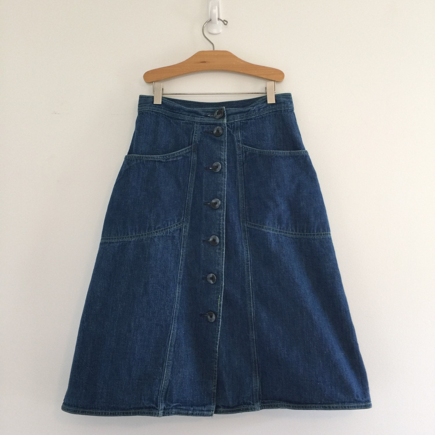 vintage 70 s button front denim skirt aline by vintspiration