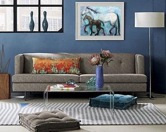 Horse painting original oil on canvas motherhood art turquoise blue canvas home decoration