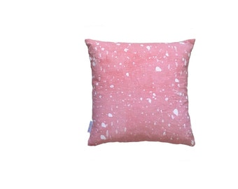 Blush pink Ink Splatter linen cushion cover