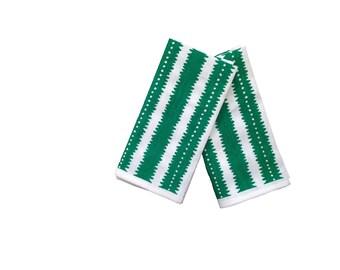 Green jagged stripes linen napkins (set of 4)