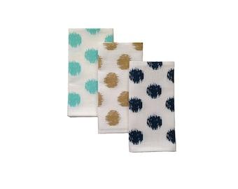 Ikat spot linen napkins in navy blue, gold or aqua (set of 4)