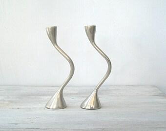 Swirl Candlesticks Silver, Pewter Candlesticks Modernist, Vintage Candlesticks Unity, Tall Candleholders, Wedding Table Decor, Hostess Gift