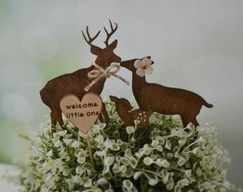 Deer wedding cake topper baby shower camouflage hunter themed cake topper deer family buck doe fawn bride groom wood silhouette rustic