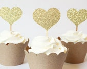 Gold Glitter Heart Cupcake Toppers Gold Party Supplies Bridal Shower Cupcake Toppers Rustic Glam Shabby Chic Wedding Decor / Set of 12
