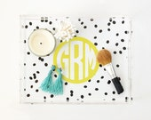 Monogram Acrylic Tray Personalized Lucite Tray Custom Polka Dot Tray Acrylic Jewelry Tray Makeup Vanity Tray Preppy Bridesmaid Gifts for Her