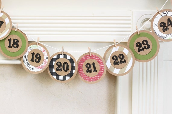 Advent Calendar Garland Advent Banner Christmas Countdown Garland Kraft Paper Banner Holiday Bunting Christmas Mantle Decorations