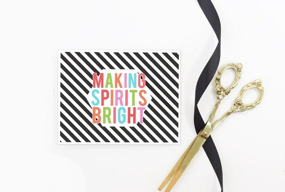 Christmas Cards Making Spirits Bright Holiday Card Personalized Colorful Christmas Card Custom Girly Black and White Stripe Greeting Card