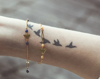 triangle bracelet, navy and gold bracelet, dark blue bracelet, dark blue jewelry, geometric bracelet, blue jewelry