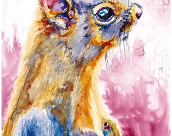 "Squirrel Watercolor Giclee Fine Art Print 11x14"" [Watercolor Squirrel Portrait Print, Squirrel Print, Squirrel Art, Squirrel Watercolor Art]"