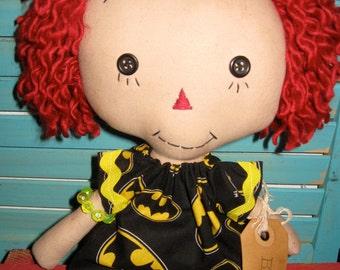 Primitive Annie Ann Raggedy Doll Batman Fan Girl OOAK Handmade