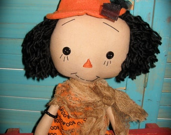 Primitive Annie Ann Raggedy Halloween Witch Doll OOAK