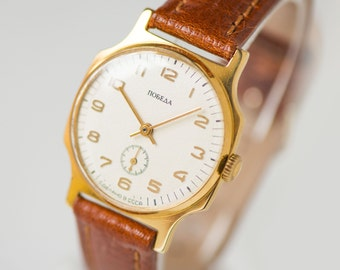 Modern gold plated watch Pobeda, men's wrist watch classy, minimalist men's watch, dress watch him gift, premium leather strap new