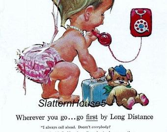 1950 Bell Telephone Ad Print Colored Print Retro Ad Bell Baby Bell Telephone Ad Bell Industry Retro Industry Ad Home Decor  PDF Print