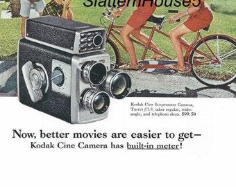 1950 Kodak Camera Ad Print Kodak Cine Scopemaster Camera Ad retro Color Kodak Movie Camera Ad Print Home Decor Personalized Prints Crafts