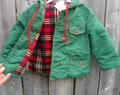 70s Baby Lumber Jacket Red Plaid Green and Orange - Boy or Girl - 18 - 24 mo