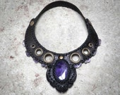 PARADOX 004⎜Black leather necklace with natural amethyst⎜Victorian punk necklace⎜Leather jewelry⎜Burning man jewelry⎜Statement necklace