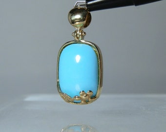 14k Yellow Gold Blue Turquoise Necklace Pendant 30 mm Flower Design Hallmarked Very Nice Gift Quality Jewelry DanPickedMinerals