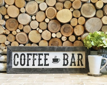 """22.5x7.5"""" Coffee Bar Sign - Coffee Station - Coffee Shop Sign - Kitchen Decor - Coffee Lover - Barnwood and Cotton Canvas - Reclaimed Wood"""
