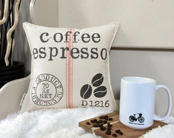 """12"""" Coffee Grain Sack Pillow - Coffee Lover Decor - Vintage Inspired - Cotton Canvas - Loop & Toggle Back - Insert Included - Made to Order"""