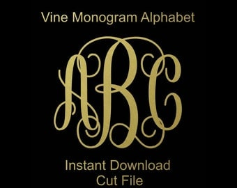 Interlocking Vine Monogram Svg, Vine Monogram Font, Svg Monogram Font, Cricut Cut Files, Silhouette Cut Files