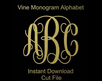 Interlocking Vine Monogram Svg, Vine Monogram Font, Svg Monogram Font, Cricut Cut Files, ...