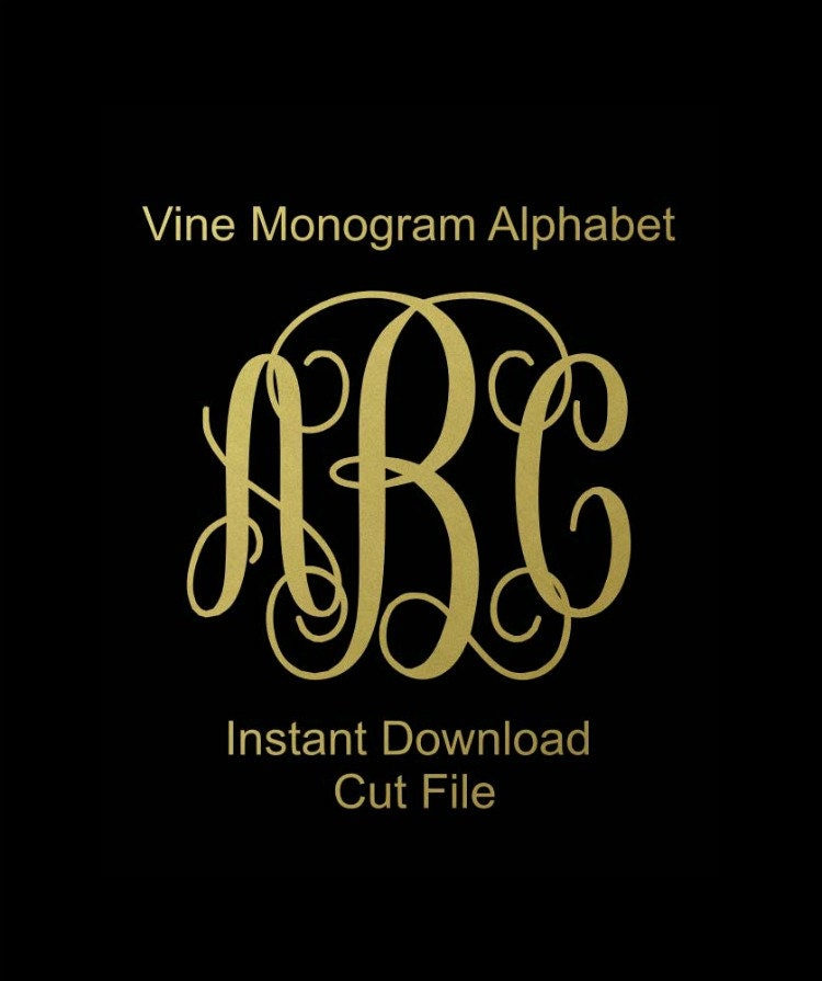 Interlocking Vine Monogram Svg Vine Monogram Font Svg