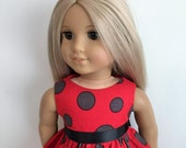 Red Dot Doll Dress and Sash for the American Girl Doll