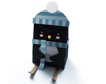 Penguin Gift Box A4 Digital Download Christmas Birthday Wedding Favour box