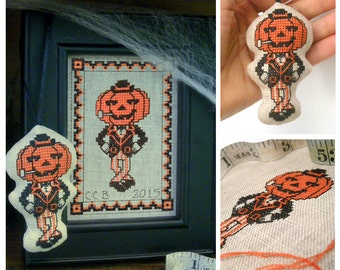 Halloween Jack o Lantern Cross Stitch Pattern Project Pumpkin Needlepoint Download Embroidery Chart
