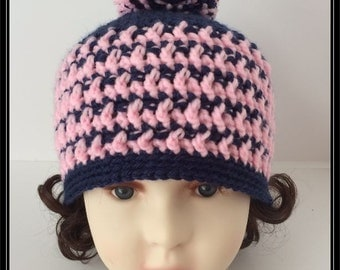 Crocheted Basic Beanie hat with pom pom!!! Pink and Navy Blue!  Ready to Ship!