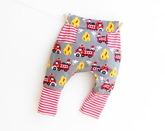 Harem Pants pattern Pdf sewing, FIREMAN Boy Girl Knit Jersey pattern, Kids Toddler Baby Harem Pants pattern, newborn up to 6 years