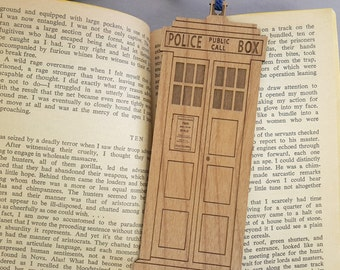 FREE SHIPPING - TARDIS Bookmark with Tassel - Laser Engraved Alder Wood - Doctor Who Book Mark