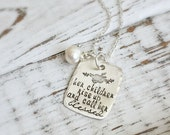 Her Children Rise Up And Call Her Blessed . Faith . Proverbs 31 . Scripture Necklace . Floral Necklace . Blessed Necklace . Mother Necklace