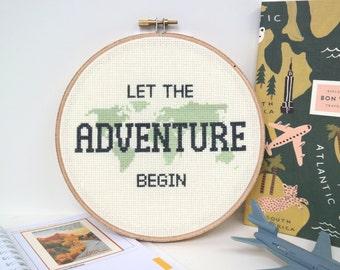 Let the Adventure Begin PATTERN | Modern cross stitch