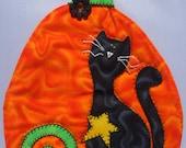 Black Cat Mug Rug in the Pumpkin Patch