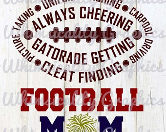 Football Mom with svg, dxf, png and eps Commercial & Personal Use