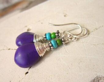Wire Wrapped Purple & Turquoise Earrings.Purple Turquoise Howlite Dangle Earrings.Green and Turquoise Earrings.Purple Jewelry.Rustic Jewelry