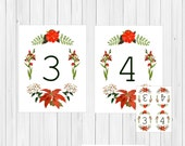 Victorian Christmas Table Card Numbers, Vintage Table Numbers, Wedding Table Cards for Christmas Wedding, Holiday Table Cards