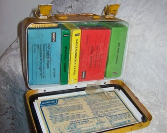 Vintage Metal First Aid Kit Box w/ Contents by Norton Wall Mountable Only 11 USD