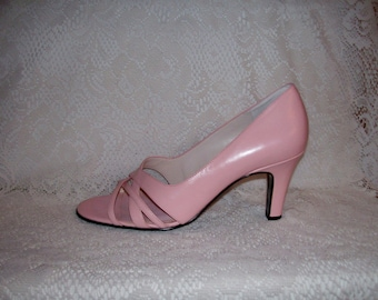 Vintage Ladies Pink Leather Strappy Peep Toe Pumps by Worthington Size 8 Only 7 USD