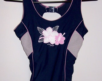 Vintage Ladies Navy Blue, Pink & White One Piece Swimsuit Size 12 Only 8 USD