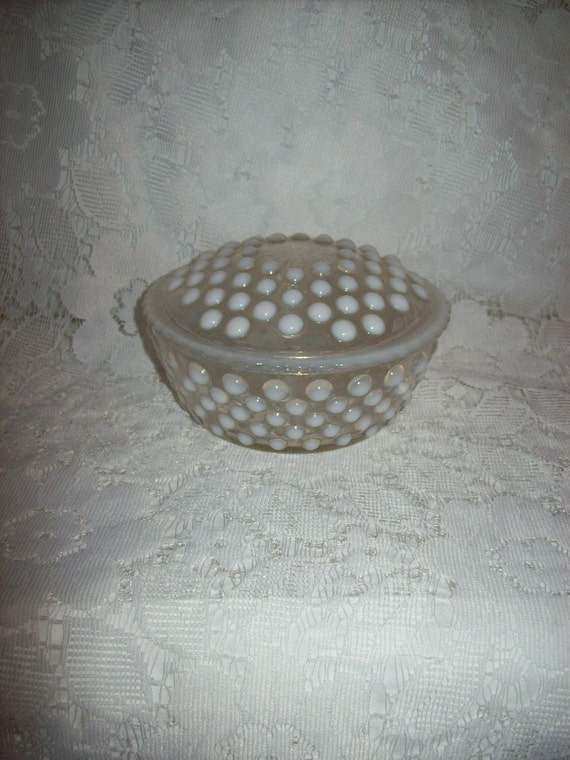 Vintage White Opalescent Moonstone Glass Powder Jar Or Trinket