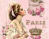 Sweet Paris Dreams Fabric Block - Art Print