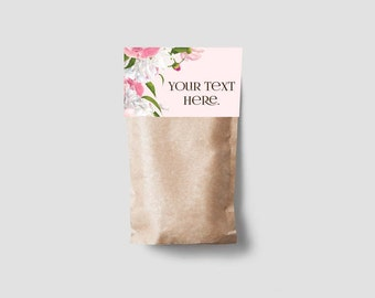 Instant Download 4 Printable Treat Bag Toppers - Pink Peonies