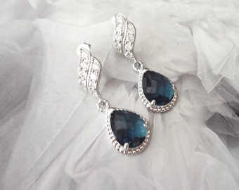 Sapphire blue earrings, Czech glass, Sterling Silver wave posts, Elegant, Bridal Jewelry, Something blue,Wedding jewelry, Bridesmaids Gift