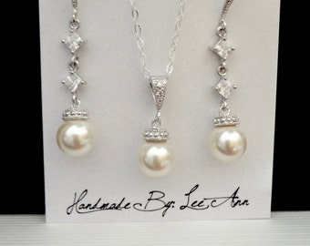Pearl jewelry set - Sterling Silver - Sparkling cubic zirconias ~ Swarovski pearl jewelry set ~ Brides jewelry set ~ Bridesmaids jewelry set