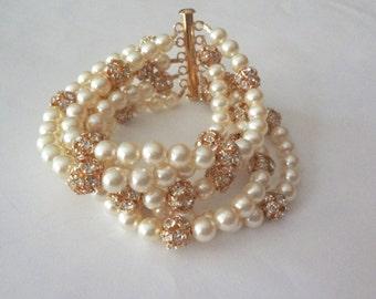 Gold pearl Cuff bracelet ~ 5 Strands ~ Statement Bracelet ~ Chunky pearl bracelet ~ Elegant ~ Bridal Jewelry ~ Stunning ~ Brides bracelet ~