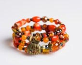 Halloween Harvest Bracelet. 3 Layers. Free Size, Memory Wire.